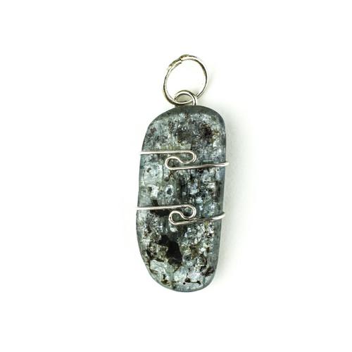 Blue Kyanite Wire Wrap Silver Pendant