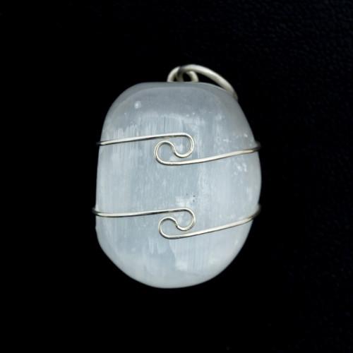 Selenite Wire Wrap Silver Pendant