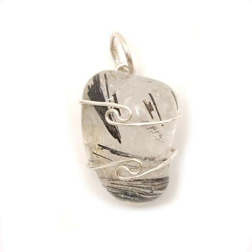 Tourmaline Quartz Wire Wrap Silver Pendant