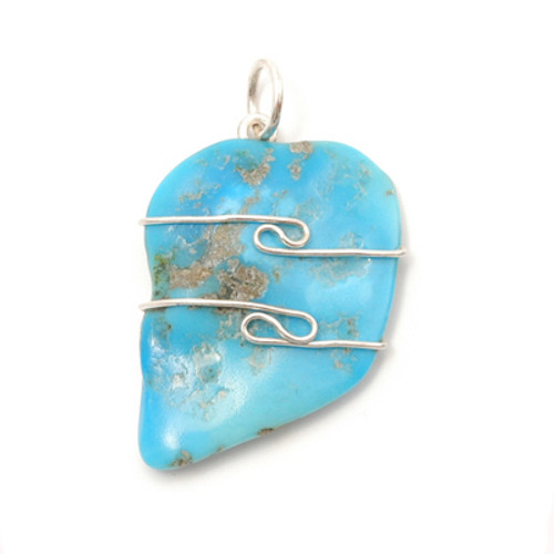 Turquoise Wire Wrap Silver Pendant