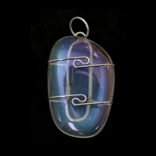 Angel Aura Quartz (Tumbled) Wire Wrap Pendant