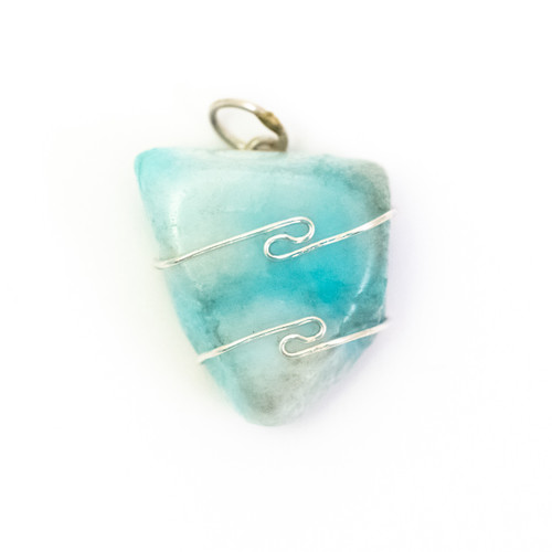 Blue Aragonite Wire Wrap Silver Pendant
