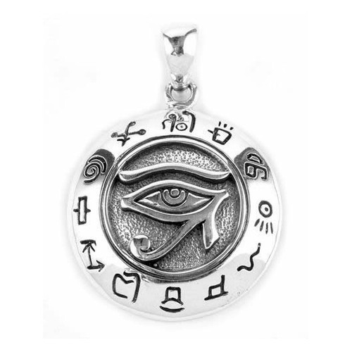 Eye of Horus Pendant with Sacred Symbols (Sterling Silver)