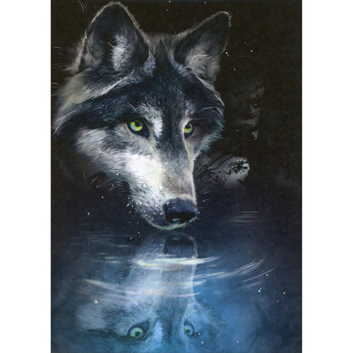 Wolf Reflection Greeting Card (Blank)