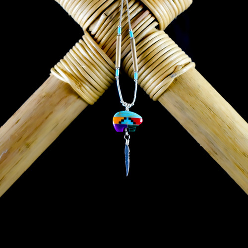 Multi Colour Mosaic Bear & Silver Feather Earrings & Necklace (Sterling Silver)