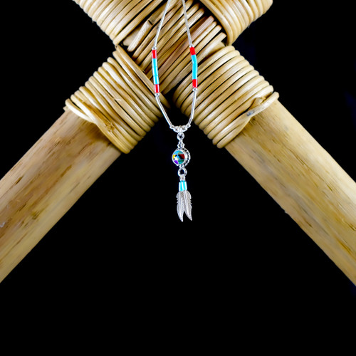 Multi Colour Mosaic & Feather Earrings & Necklace (Sterling Silver)