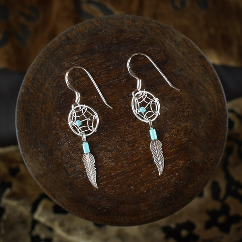 Small Dream Catcher Earrings & Necklace with Turquoise (Sterling Silver)