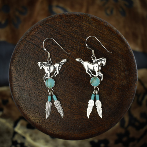 Horse Earrings & Necklace with Turquoise & Feather (Sterling Silver)