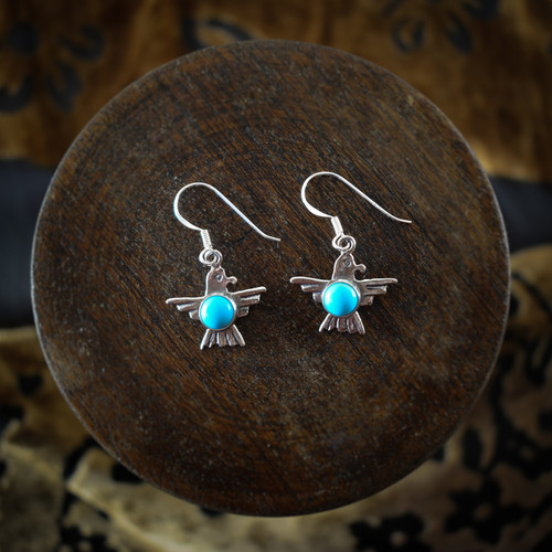 Turquoise & Silver Thunderbird Earrings & Necklace (Sterling Silver)