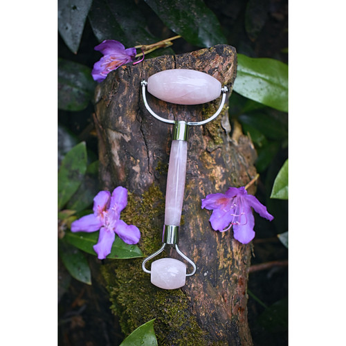 Rose Quartz Dual End Facial Massage Roller (Stainless Steel)