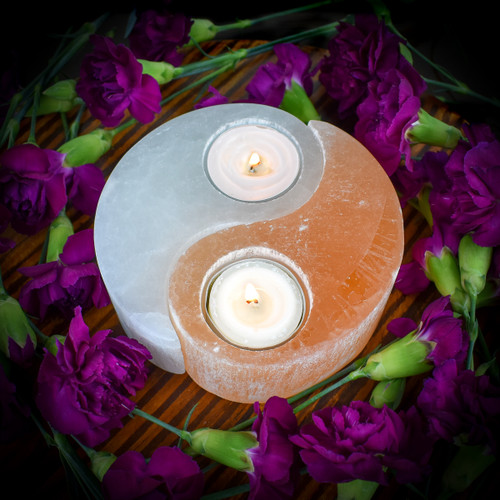Selenite Yin Yang Tea Light Holder