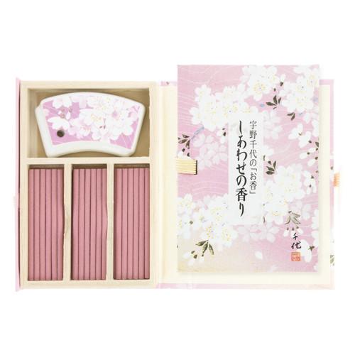 Unochiyo Shiawase no Kaori Incense (36 Sticks) with Sakura Holder
