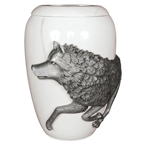 Free Spirit Urn Pewter Wolf - Marble Effect Large
