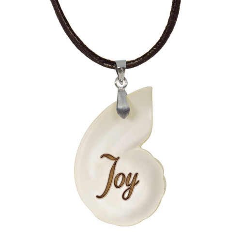 Shell Pendant Joy with Adjustable Leather Cord