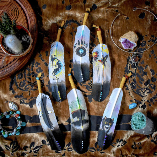 Painted Navajo Feather by Phillip Nez (Limited Edition)