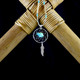 Large Dream Catcher Earrings / Necklace with Turquoise Bear & Feather (Sterling Silver)