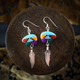 Multi Colour Mosaic Bear & Silver Feather Earrings / Necklace (Sterling Silver)