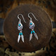 Bear Paw Earrings & Necklace with Turquoise & Feathers (Sterling Silver)