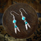 Turquoise Earrings / Necklace with Silver Feathers (Sterling Silver)