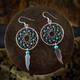 Large Dream Catcher Earrings / Necklace with Turquoise Beads & Feather (Sterling Silver)