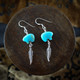 Turquoise Zuni Bear Earrings & Necklace with Silver Feather (Sterling Silver)