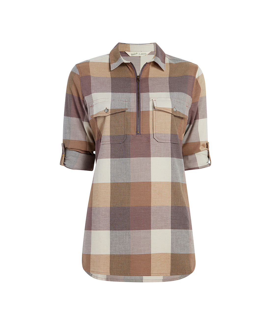 Women's Any Point Convertible Plaid Flannel Tunic  Shirt