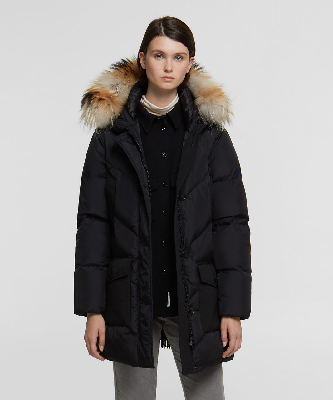 Womens Black Down Parka