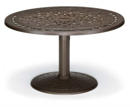 "Telescope Casual Cast Top 48"" Round Chat Height Table with hole and 28"" diameter base"