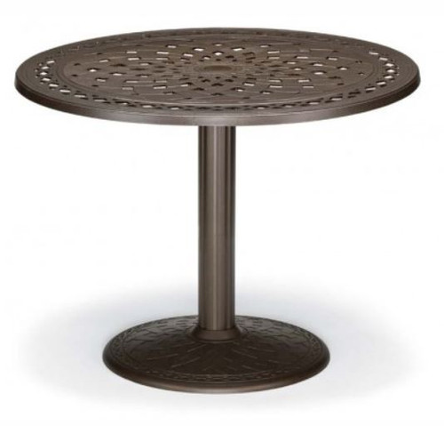 "Telescope Casual Cast Top 48"" Round Dining Height Table with hole and 28"" diameter base"