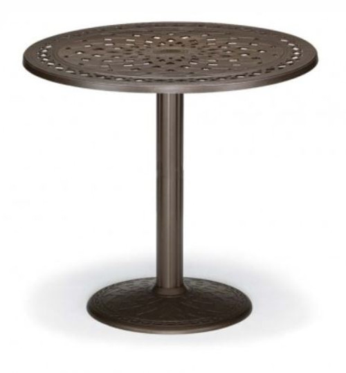 "Telescope Casual Cast Top 48"" Round Bar Height Table with hole and 28"" diameter base"
