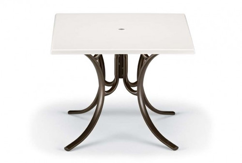 """Telescope Casual Werzalit 36"""" Square Dining Table with hole with Deluxe Legs"""