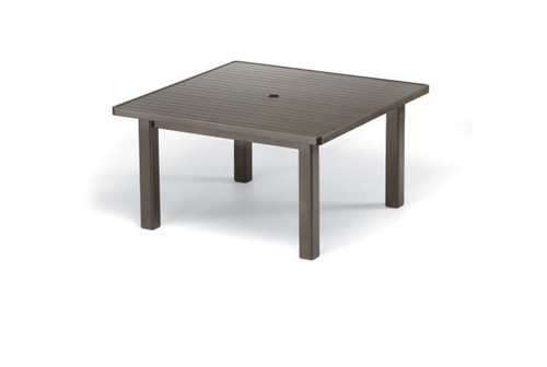 """Telescope Casual Aluminum Slat Top 42"""" Square Chat Height Table with hole"""