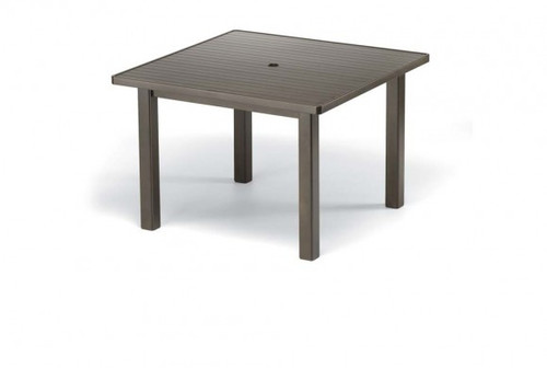 """Telescope Casual Aluminum Slat Top 42"""" Square Dining Height Table with hole"""