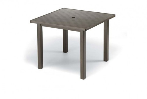 """Telescope Casual Aluminum Slat Top 42"""" Square Balcony Height Table with hole"""