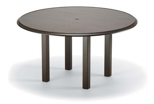 "Telescope Casual Aluminum Slat Top 56"" Round Dining Height Table with hole and Ogee Rim"