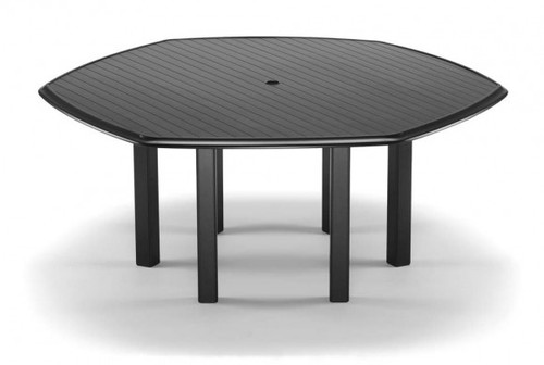 "Telescope Casual Aluminum Slat Top 64"" Hexagonal Dining Height Table with hole and Ogee Rim"