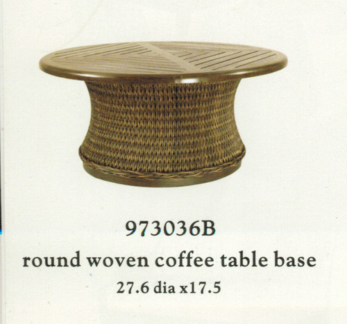 Patio Renaissance Monticello Collection Round Woven Coffee Table Base Only  (top sold separately)