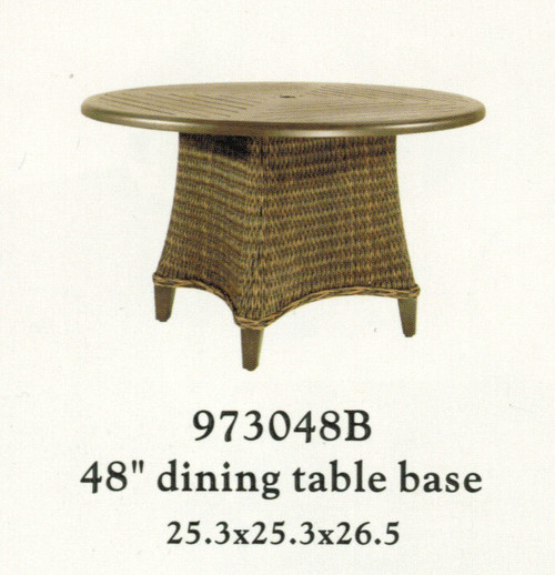 """Patio Renaissance Monticello Collection 48"""" Woven Dining Table Base Only  (top sold separately)"""