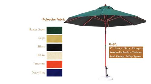 DWL Garden 9 ft Heavy Duty Kampus Wooden Umbrella