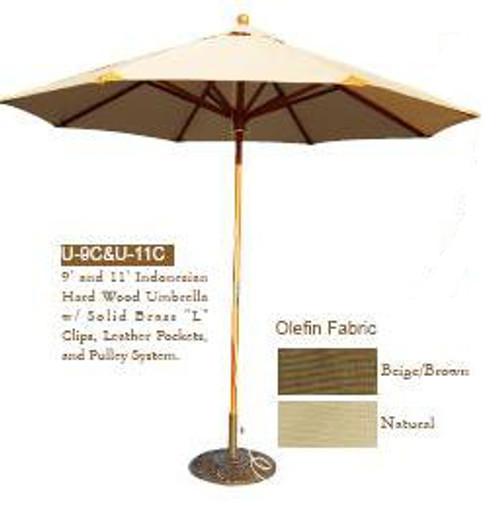 DWL Garden 11' Indonesian Hard Wood Umbrella