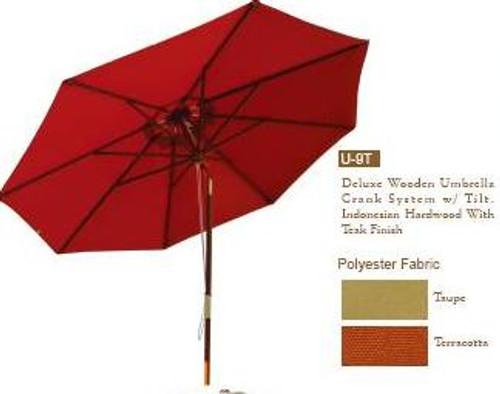 DWL Garden 9 ft Deluxe Wooden Umbrella