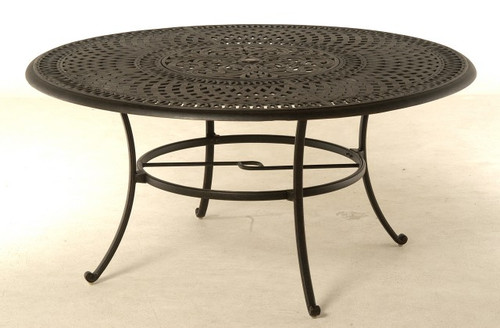 """Hanamint Table, Bella 60"""" Round Inlaid Lazy Susan Table"""
