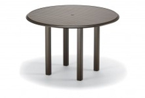 "Telescope Casual Aluminum Slat Top 56"" Round Balcony Height Table with hole and Ogee Rim"