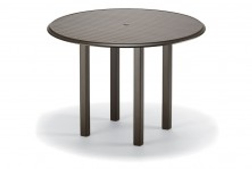"""Telescope Casual Aluminum Slat Top 56"""" Round Bar Height Table with hole and Ogee Rim"""