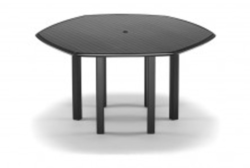 "Telescope Casual Aluminum Slat Top 63"" Hexagonal Balcony Height Table with hole and Ogee Rim"