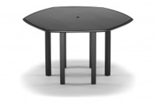 "Telescope Casual Aluminum Slat Top 63"" Hexagonal Bar Height Table with hole and Ogee Rim"
