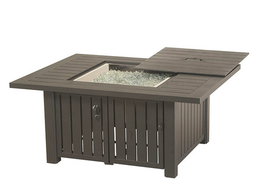 "Hanamint Fire Pit, Sherwood 44""x56"" Rectangular Enclosed Gas Fire Pit Table"