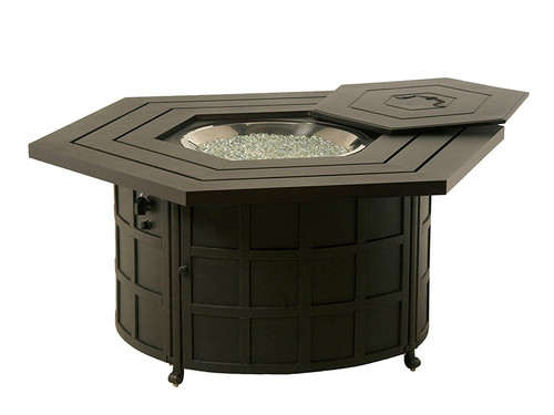 Hanamint Fire Pit, Sherwood Hexagonal Enclosed Gas Fire Pit Table