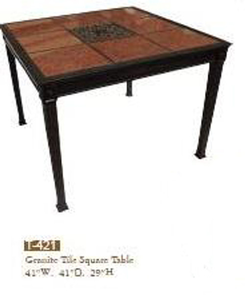 "DWL Garden 41"" Square Granite Tile Dining Table"