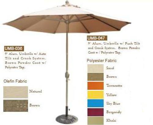 DWL Garden 9 ft Umbrella with Push Tilt and Crank